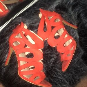 Nine West red cut out heels